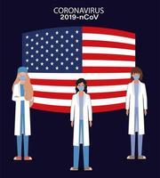 Banner de coronavirus con médicos con diseño de vector de bandera de Estados Unidos