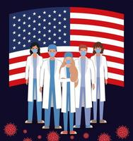 Coronavirus banner with doctors with usa flag vector design
