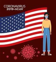 Banner de coronavirus con mujer con diseño de vector de bandera de Estados Unidos