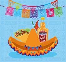 Mexican sombrero hat, tequila, and taco vector design