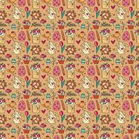 Easter holiday seamless pattern, texture, background. Rabbits, cakes, muffins, herbs, eggs, flowers, spice and hearts. Children packaging design, paper. Isolated on backdrop.