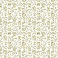 Easter holiday seamless pattern, texture. Rabbits, cakes, muffins, herbs, eggs, nest, flowers and hearts. Children packaging design, paper. Golden color. Isolated on white background.