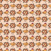 Birds with eggs in nest. Seamless pattern, texture, background. Isolated on beige background. vector