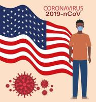 Banner de coronavirus con hombre afro con diseño de vector de bandera de Estados Unidos