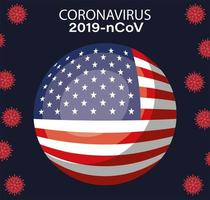 Coronavirus banner with usa flag button vector design