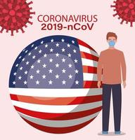 Coronavirus banner with man with usa flag vector design
