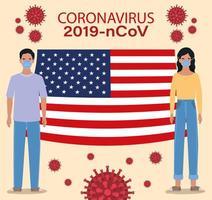 Banner de coronavirus con hombre y mujer con diseño de vector de bandera de Estados Unidos
