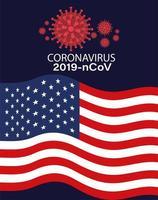 Banner de coronavirus con diseño de vector de bandera de Estados Unidos