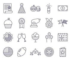Independence day line style icon set vector