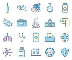 Coronavirus line and fill style icon set vector