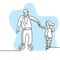 Continuous line drawing of dad and daughter playing ice skating on ice rink arena isolated on white background. Fun winter sport concept hand drawn sketch minimalism style. Vector illustration