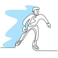 Continuous line drawing of skating man. Young male playing ice skating on ice rink arena isolated on white background. Fun winter sport concept hand drawn sketch minimalism style. Vector illustration