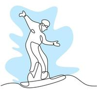 One continuous line drawing of young sporty man snowboarder riding snowboard in snowy powder mountain isolated on white background. Winter lifestyle sport concept. Vector illustration
