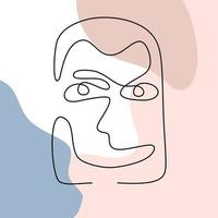 Minimalism poster art with one line drawing abstract face. Abstract poster with minimal man face with happy expression one line drawing vector