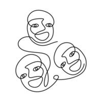 Abstract poster with minimal people face with happy expression one line drawing isolated on white background. Minimalism poster art with one line drawing abstract face. vector
