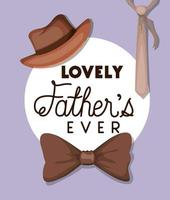 Fathers day celebration banner with icons vector