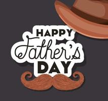 Fathers day celebration banner with hat and mustache vector design