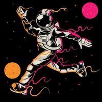 astronauta jugando al fútbol o al fútbol en el espacio sobre fondo negro. El astronauta deportivo patea la pelota entre las estrellas y las galaxias planetas lunares. bueno para el diseño de impresión camiseta ropa cartel niños vector