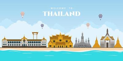 Bangkok city panorama and beautiful the world famous landmark in Thailand. The best place for tourist vacation. Modern buildings and high towers in Bangkok downtown. Vector illustration