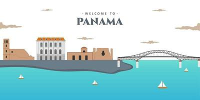 Aerial view landscape of the modern skyline of Panama City. Panama with famous landmark color buildings. Great place for tourist vacation. Business travel and tourism concept. Vector illustration.