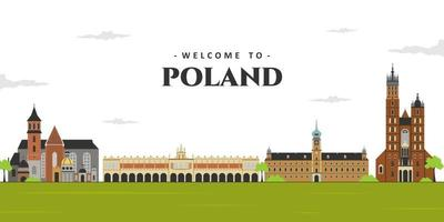 Panoramic view of Poland. City landscape in old town Poland with famous landmark building. Business travel vacation guide of goods, places and features vector