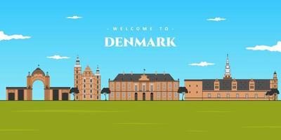 Denmark panoramic view landscape. Aerial skyline in Copenhagen, Denmark. World vacation travel Europe European collection. Illustrated collection of famous landmark in Denmark vector