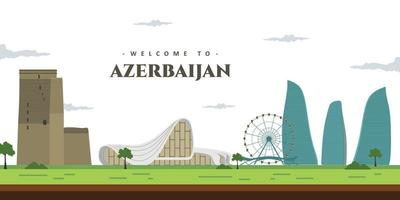 City landscape of Azerbaijan with famous building landmark. Welcoming to Azerbaijan. World vacation travel Asia, Asian collection. Cartoon style web site vector illustration