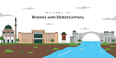Bosnia and Herzegovina country design template with wonderful landmark buildings. Beautiful panorama view of the old city. World vacation travel sightseeing Europe European collection. vector
