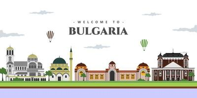 Great city landscape panorama view of Bulgaria with famous landmarks. Set vector illustration can be use for poster travel book, postcard, billboard. Business travel and tourist guide