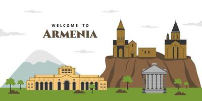 Aerial panorama view of Armenia city landscape travel sights, landmark buildings with Mt Ararat in the background. Beautiful scenery you must visit. The best destination for tourist vacation vector