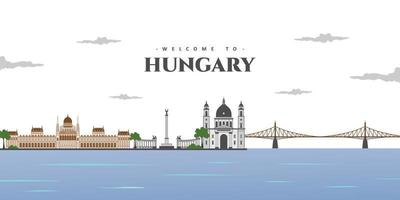Panorama view of Budapest with greatest landmarks in the world, collection abstract isolated vector illustration. Welcome in Hungary. Around in the world concept. Travel and Tourist attraction.