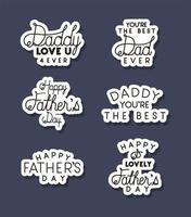 Fathers day celebration banner with lettering set vector