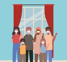 Interracial family wearing face masks vector