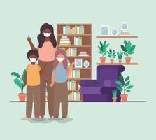 Family with face masks at home vector design