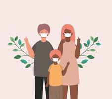 Mother, father and son with masks and leaves vector design
