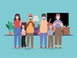 Interracial family wearing face masks at home vector