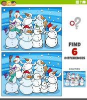 differences educational game with cartoon snowmen vector