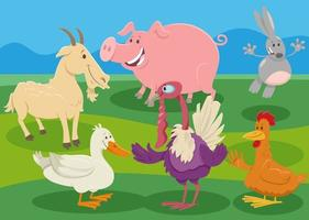 cartoon farm animal characters in the countryside vector