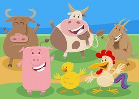 cartoon farm animal comic characters vector