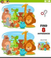 differences educational game with cartoon animals vector