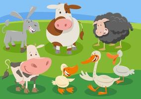 cartoon farm animal characters group in the countryside vector