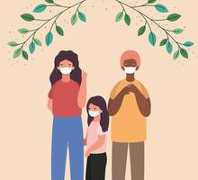 Interracial mother, father and daughter with masks and leaves vector design