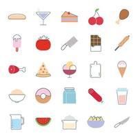 comida estilo plano conjunto de iconos de diseño vectorial vector