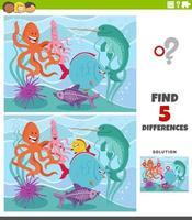 juego educativo de diferencias con animales marinos. vector