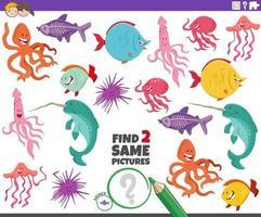 Encuentra dos mismos personajes de animales marinos juego educativo. vector