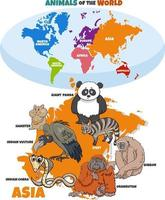 educational illustration of cartoon Asian animals and world map vector