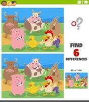 differences educational game with cartoon farm animal characters vector