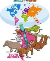 educational illustration of cartoon South American animals vector