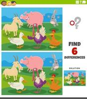 differences educational task with cartoon farm animals vector