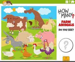 how many farm animals educational cartoon game for children vector